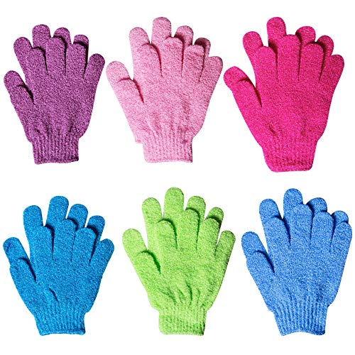 (6 Pairs Exfoliating Gloves - Full Body Scrub Exfoliating Bath Gloves for Shower for Men and Women, Scrubs Away Dead Cells For Soft Skin and Improves Blood Circulation, 6 Colors)