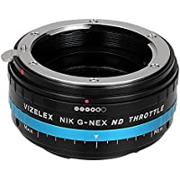 Vizelex ND Throttle Lens Mount Adapter - Nikon Nikkor F Mount G-Type D/SLR Lens to Sony Alpha E-Mount Mirrorless Camera Body with Built-In Variable ND Filter (1 to 8 Stops)