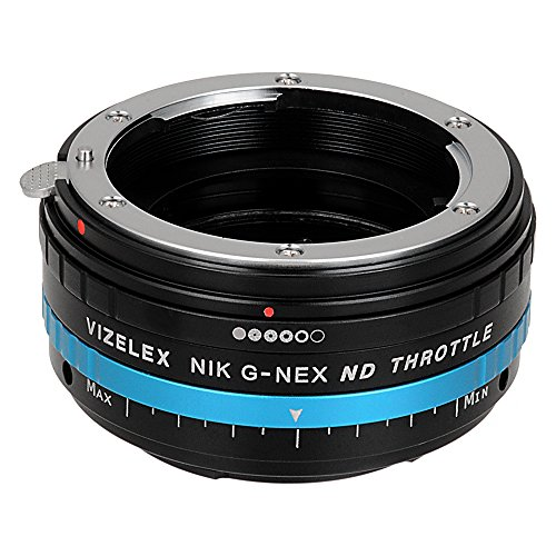 Mount Throttle - Vizelex ND Throttle Lens Mount Adapter - Nikon Nikkor F Mount G-Type D/SLR Lens to Sony Alpha E-Mount Mirrorless Camera Body with Built-In Variable ND Filter (1 to 8 Stops)