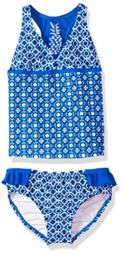 2 Piece Girls Toddler Tankini (Tommy Bahama Girls' Toddler 2-Piece Tankini Swimsuit Set, Blue Bandana, 2T)