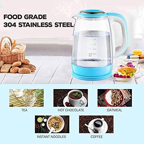 HLJ Bouilloire électrique en verre, 1,8 L avec éclairage LED, sans fil, 1500 W à ébullition rapide, bouilloire à thé avec filtre à thé, arrêt automatique et mise hors tension