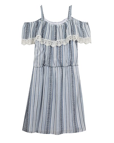 Rare Editions Big Girls' Cold Shoulder Casual Dress, Blue...