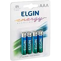 Kit Pilhas Alcalinas com 4X AAA Palito, Elgin, Baterias