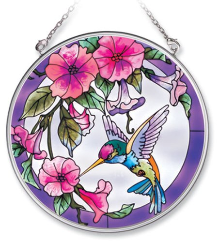 Amia Handpainted Glass Pink Morning Glory and Hummingbird Suncatcher, (Boxed Window Glass)