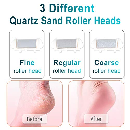 Electric Callus Remover for ft, Rechargeable Foot File Hard Skin Remover, Waterproof 13 in 1 Pedicure Tools package for Cracked Heels Calluses and Dead Skin, with 3 Roller Heads 2 Speed, Battery Display