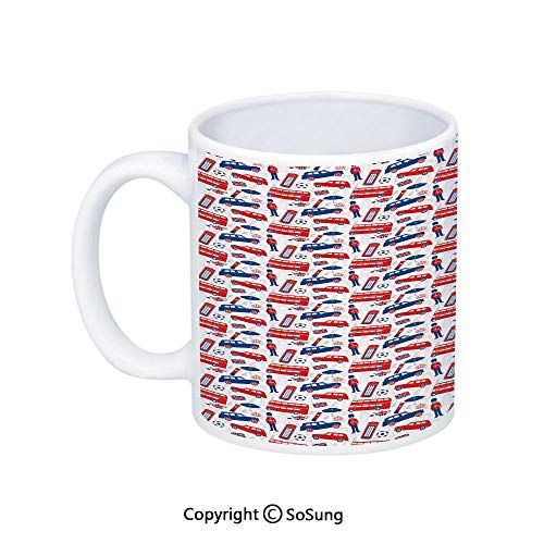 (London Coffee Mug,Classical Icons Retro Silhouette Outline Style with Flag Colors Culture,Printed Ceramic Coffee Cup Water Tea Drinks Cup,Blue Vermilion White)