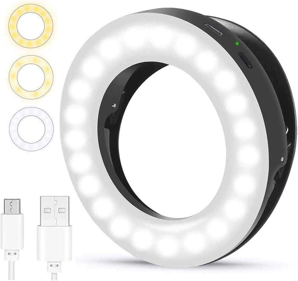 (2020 Upgraded New) Ytaland Selfie Ring Light, 3 Lighting Modes Rechargeable Selfie Fill Light, Adjustable Brightness Laptop Light for Video Conferencing, Small Ring Light for iPhone, Android (Black)