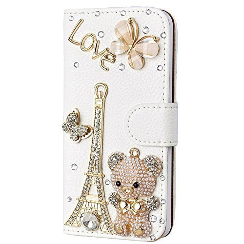 - Spritech Moto E5 Play Case,Moto E5 Cruise Case, [Card Slot] Design Floral Handmade Bling Crystal Diamonds Butterfly with Card Slots Folio Stand PU Leather Wallet for E5 Play/Moto E5 Cruise