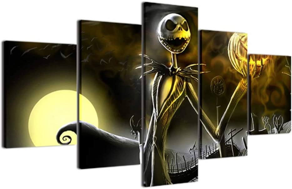 Canvas Prints Wall Art Pictures 5 Pieces Hallowmas Jack Skellington Painting Living Room Decor Before Christmas (with Wood Frame, 20小x35cmx2,20x45cmx2,20x55cmx1)