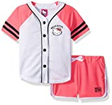 Hello Kitty Big Girls' Baseball Themed Mesh Short Set, Pink, 8