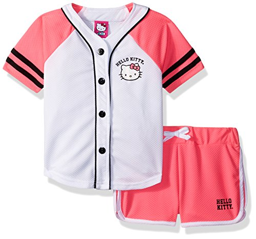 Hello Kitty Big Girls' Baseball Themed Mesh Short Set, Pink, 10