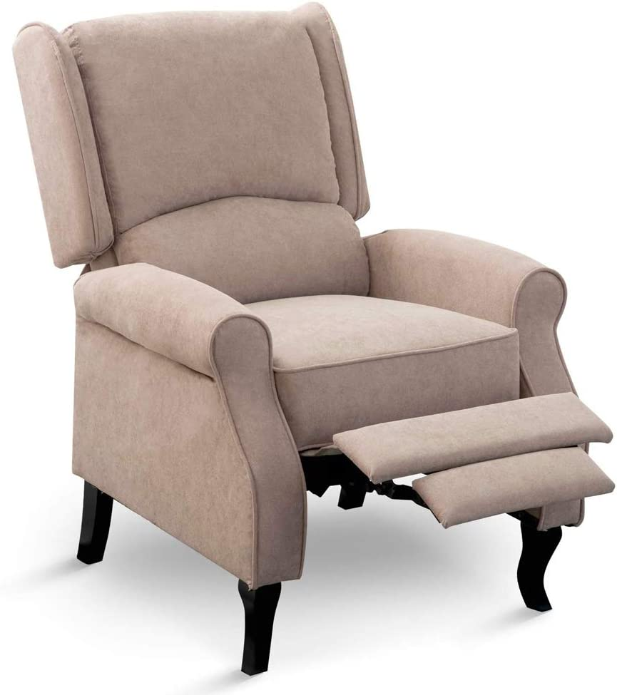 Leisure Zone Wing Back Fireside Recliner Armchair Sofa Chair Reclining Arm Push Back Check Fabric Cinema for Lounge Home Cinema Gaming (Light Brown,