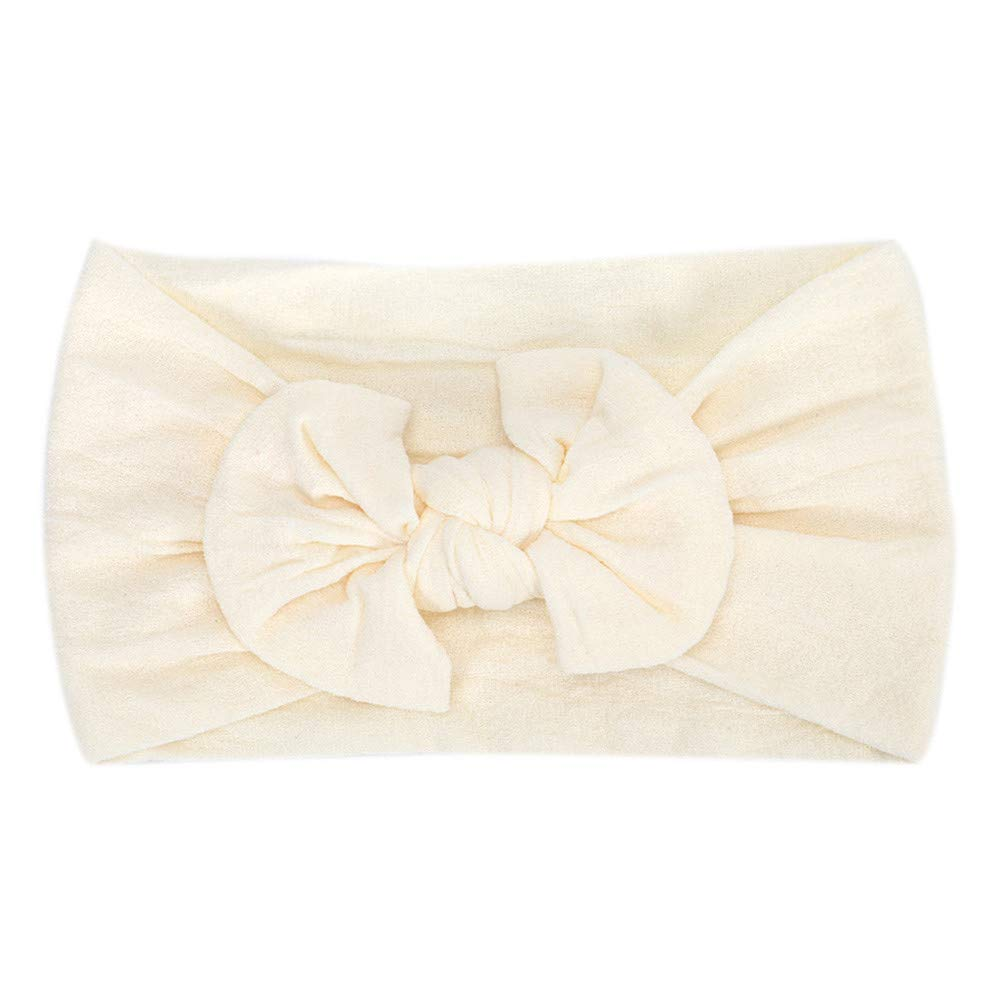 Cyhulu Baby Girl Nylon Headbands Newborn Infant Toddler Hairbands and Bows Child Hair Accessories (Beige, One size)
