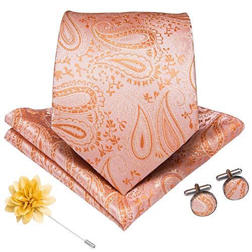 DiBanGu Men's Paisley Tie and Pocket Square Lapel Pin Woven Necktie Cufflink Set (Coral)