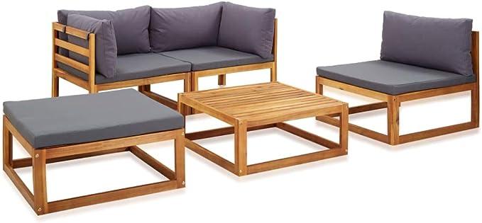 Festnight Juego Muebles de Jardín y Cojines 5 Piezas Sofas Terraza Jardin Exterior con Mesa Madera Maciza Acacia: Amazon.es: Hogar
