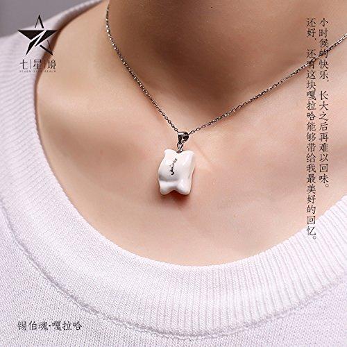f_/_Seven_border_cultural_and_ creative _Gala_Ha_ necklace pendant original _playful_pure_ 925 silver _ceramic_northeast ()