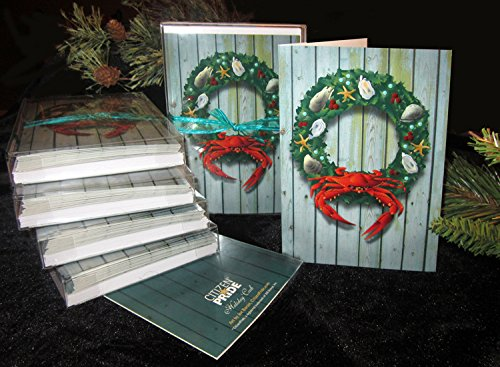 - Holiday Crab Wreath Card Pack of 10, Art by Joe Barsin