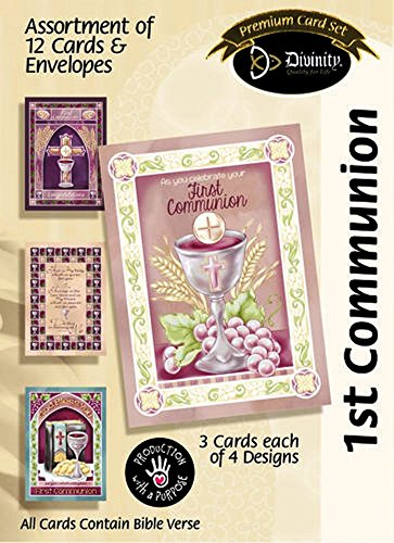 Bless You First Communion 7.5 x 5.5 Paper Assortment Set of 12 Greeting Cards First Communion Card