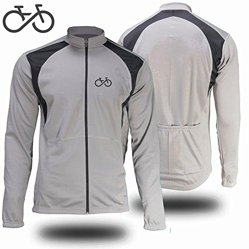 BIKE FOREVER Winter Cycling Jersey / Jacket - Long Sleeve Windproof Thermal Fleece (Large, Light Grey) (Cycling Jersey Winter compare prices)