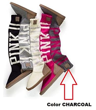 2b5cd267a0 Image Unavailable. Image not available for. Color  Victoria s Secret LOVE  PINK Mukluk Knit Slippers Boot (Medium ...