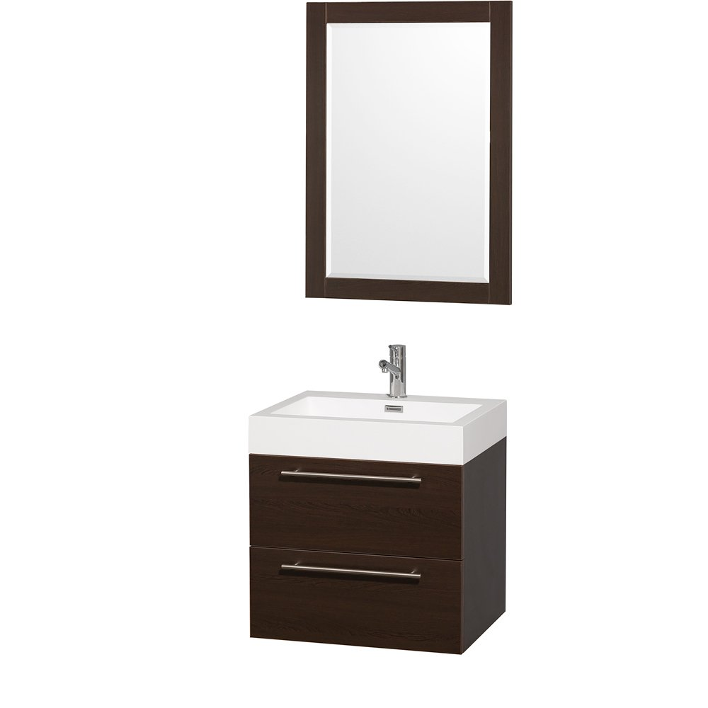 Wyndham Collection Amare 24 inch Single Bathroom Vanity in Espresso with Acrylic-Resin Top, Integrated Sink, and 24 inch Mirror
