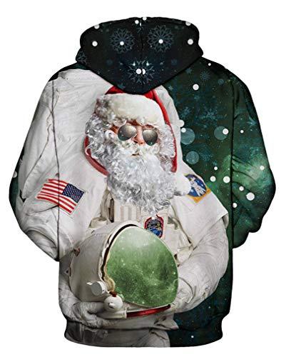 A 8 noel Con Uomo Lunghe Unisex Felpa Leslady Cosmonauta Cappuccio Inverno Per Maniche fw1BvIwqnP