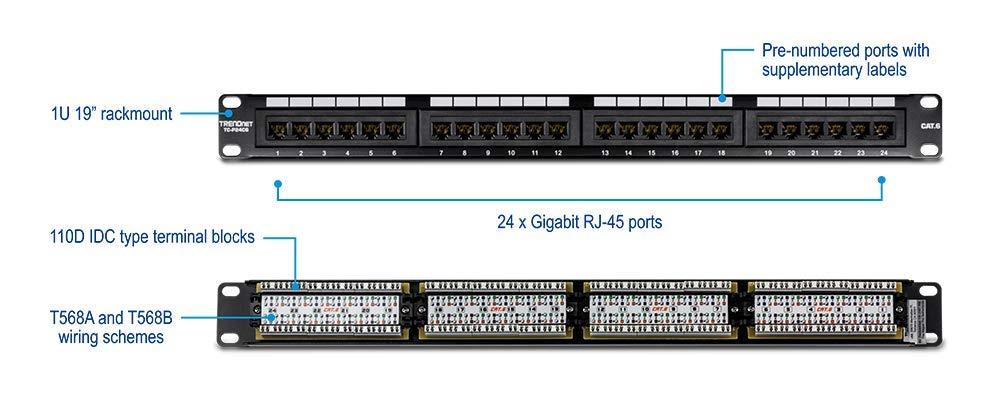 amazon com: trendnet 24-port cat6 unshielded wallmount or rackmount patch  panel, compatible with cat 3/4/5/5e/6 cabling, tc-p24c6: electronics