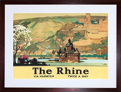 TRAVEL RIVER CASTLE LANDSCAPE RHINE VINTAGE AD FRAMED PRINT F97X6897 (Rhine River Framed)
