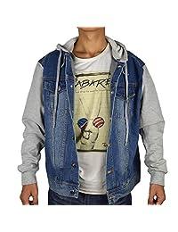 PHEONSING Men's Fleece Sleeve Detachable Hood Light Weight Denim Jacket