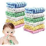 Muslin Baby Washcloths Soft Newborn Baby Face Towel Set Cotton 12x12 inches, Pack of 12