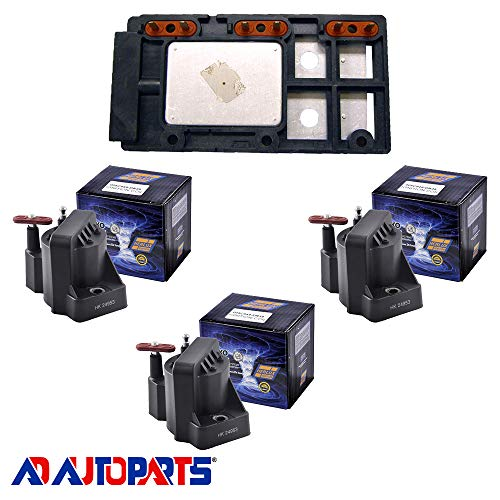 AD Auto Parts Coil Pack - Herko LX364 Ignition Control Module + 3 Herko B005 Ignition Coils