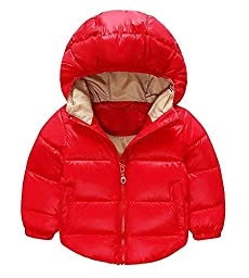 Toddler Baby Boys Girls Outerwear Cotton-padded Hooded coats Winter Jacket (2-3Years, Red)