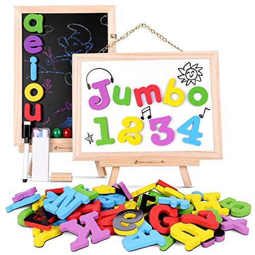 JOYNOTE Magnetic Letters and Numbers Jumbo Thick with Double Sided Wooden Board,Educational Fridge ABC Magnets Alphabet for Kids Learning,Spelling and Drawing (119 Pieces and Storage Bag Included)