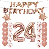 24th Birthday Decorations Party Supplies24th Balloons Rose GoldNumber 24 Mylar Balloon