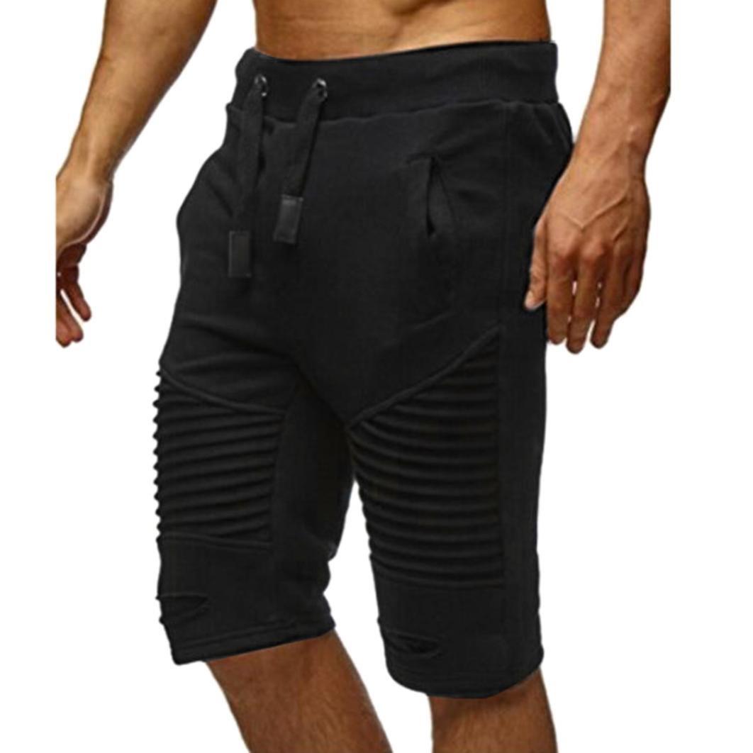 Daoroka Men Pants Casual Comfy Elastic Waist Pocket Drawstrintg 2018 Fashion Short Jogger Dance Sport Sweatpants Trousers (L, Black) by Daoroka Men Pants