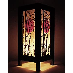 Rare Thai Vintage Handmade Paper Lamp Asia Oriental Japanese Bamboo Sunset Lights Bedside Floor or Table Home Decor Bedroom Decoration from Thailand (High-Season)