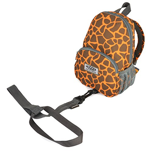 HUGGER Totty Tripper backpack daypack travel bag rusksack for kids children's toddler with safety harness / rein leash (my giraffe is orange)
