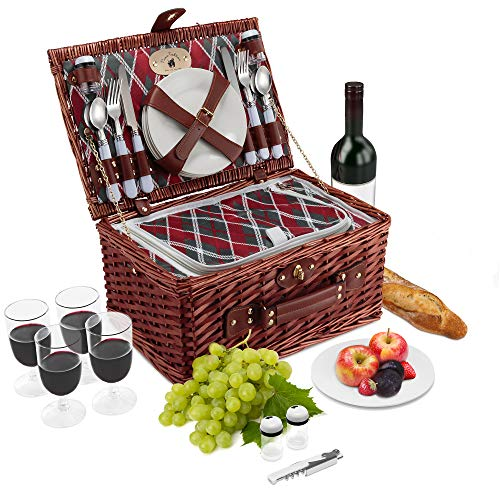- Wicker Picnic Basket Set | 4 Person Deluxe Vintage Style Woven Willow Picnic Hamper | Built-in Cooler | Ceramic Plates, Stainless Steel Silverware, Wine Glasses, S/P Shakers, Bottle Opener (Cherry)