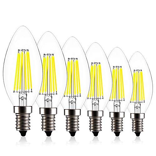 Create Bright C35 Edison Blunt Tip Filament Candelabra LED Bulb,6W(60W Incandescent Equivalent),Dimmable LED Candle Bulbs,E12 Base Lamp,520lm,6400K Daylight,360°Beam Angle,ETL Listed,Pack of 6 -