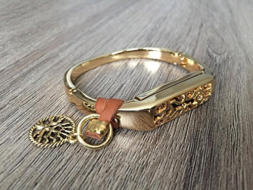Small Gold Metal Band For Fitbit Flex 2 Fitness Activity Tracker Handmade Fashion Jewelry Bangle With Brown Genuine Leather Strap & Gold Tree Of Life Charm Fitbit Flex 2 Bracelet