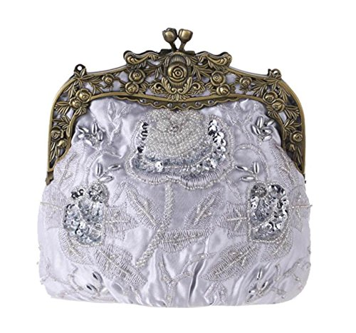 Retro Cara De Seda Bordado Bolso De Noche Clásico Cheongsam Bolso Nupcial Moda Moldeado Vestido Silver