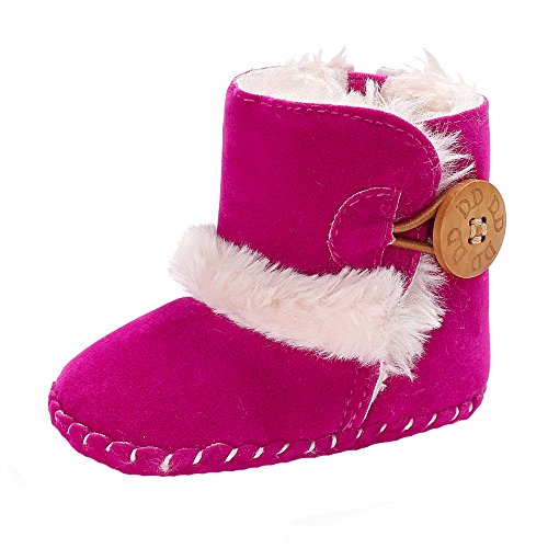 Con Botón Caliente De Recien Bebe 18 Niño Botas Fossen Forro Calientes Nieve Niña 0 Zapatos Mes Primeros Pasos Para Nacidos Rosa Lana Invierno Ywwz8