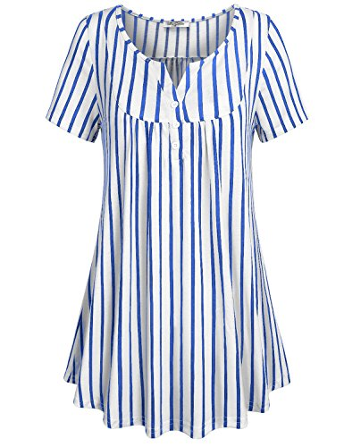 (SeSe Code Business Casual Tops for Women Ladies Summer Clothes Short Sleeve Striped Shirts to Wear with Leggings Button Front Vneck Tunic White and Blue X Large)