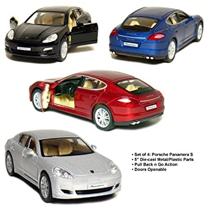 "Set of 4: 5"" Porsche Panamera S 1:40 Scale (Black/"