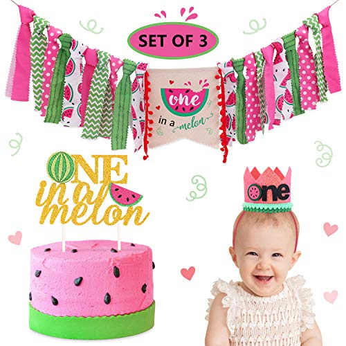 Watermelon Birthday Highchair Banner Crown Hat One In a Melon Cake Topper Summer Fruit Theme First Birthday Party Decorations Cake Smash Milestone Photo Prop Backdrop -