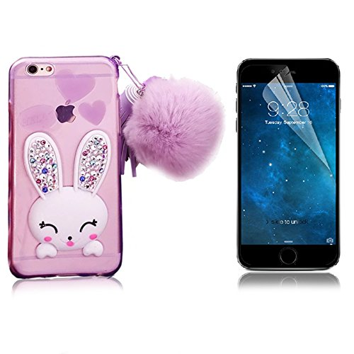 iPhone 4 Cute Case, iPhone 4S Case, Bonice Cartoon Rabbit Bling Diamond Crystal Clear Soft Transparent TPU 3D Cute Ear Stand Silicone Case with Hairball Pompon Wristlet + HD Screen Protector - Purple