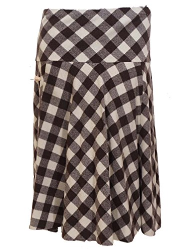 Lauren By Ralph Lauren Wool Blended Checked Skirt Brown Cream (22W)