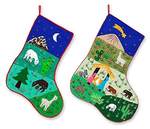 - NOVICA Religious Cotton Christmas Holiday Stocking, Multicolor, Holy Night' (Pair)