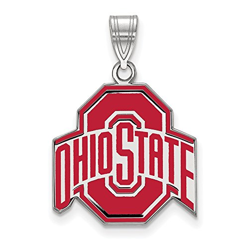 925 Sterling Silver Officially Licensed Ohio State University College Large Enamel Pendant (27 mm x 19 mm) by Mia Diamonds and Co.