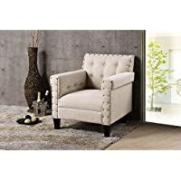 Baxton Studio Wholesale Interiors Odella Modern and Contemporary Linen Upholstered Armchair with Nail Heads, Large, Beige